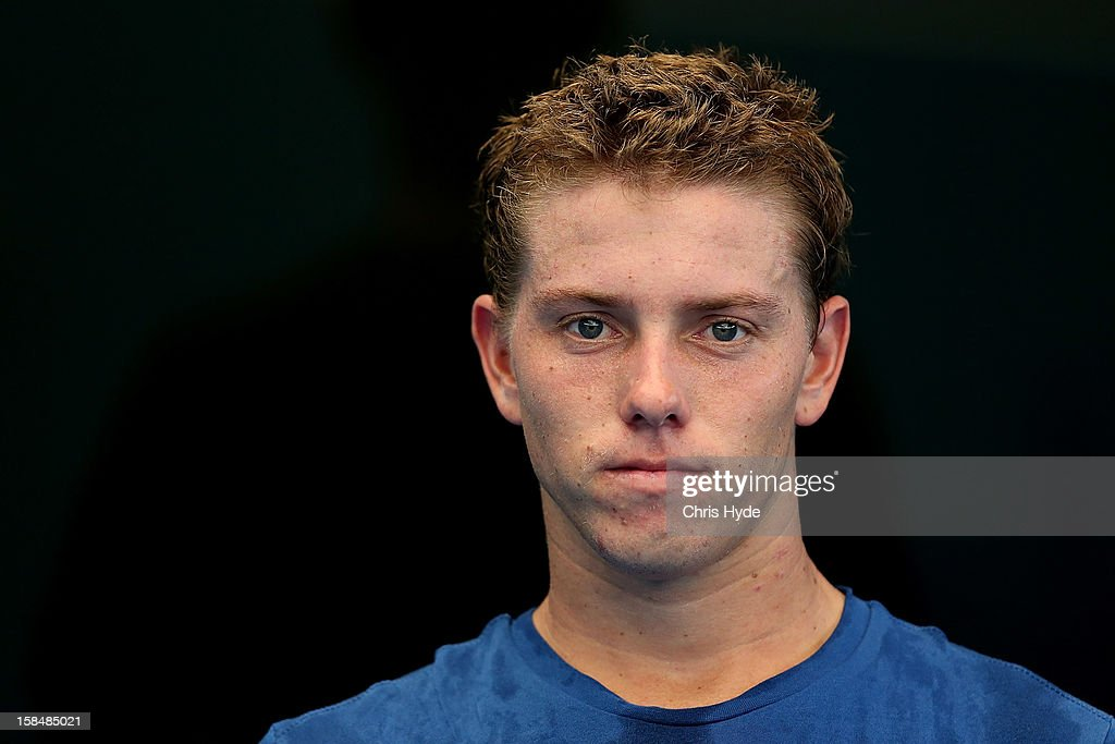 <a gi-track='captionPersonalityLinkClicked' href=/galleries/search?phrase=James+Duckworth&family=editorial&specificpeople=2573096 ng-click='$event.stopPropagation()'>James Duckworth</a> looks on after a practice session at Pat Rafter Arena on December 18, 2012, ahead of the 2013 Brisbane International in Brisbane, Australia.