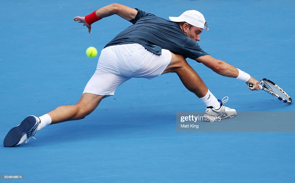 James Duckworth of Australia plays a forehand in his match against Inigo Cervantes of Spain during day three of the 2016 Sydney International at Sydney Olympic Park Tennis Centre on January 12, 2016 in Sydney, Australia.