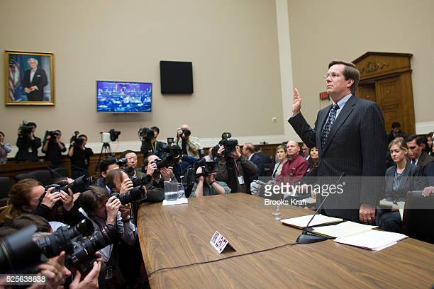 James E Lentz president and chief operating officer Toyota Motor Sales USA Inc is sworn in on Capitol Hill in Washington Tuesday Feb 23 prior to...