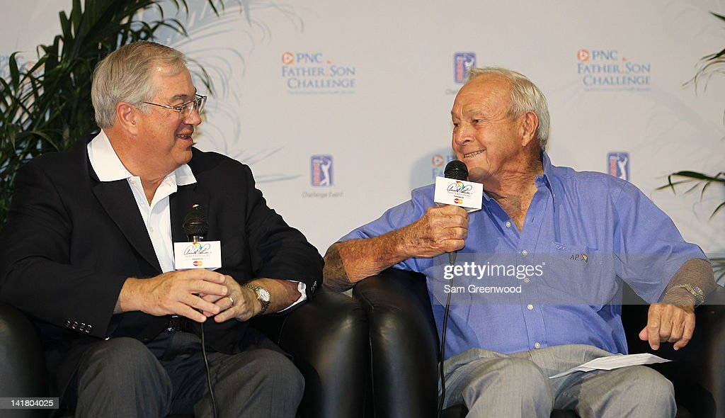 James E. Rohr, CEO of PNC Financial Services, and Golf Legend Arnold Palmer, speak to the media regarding the annoucement of the PNC Father/Son Challenge on March 24, 2012 in Orlando, Florida.