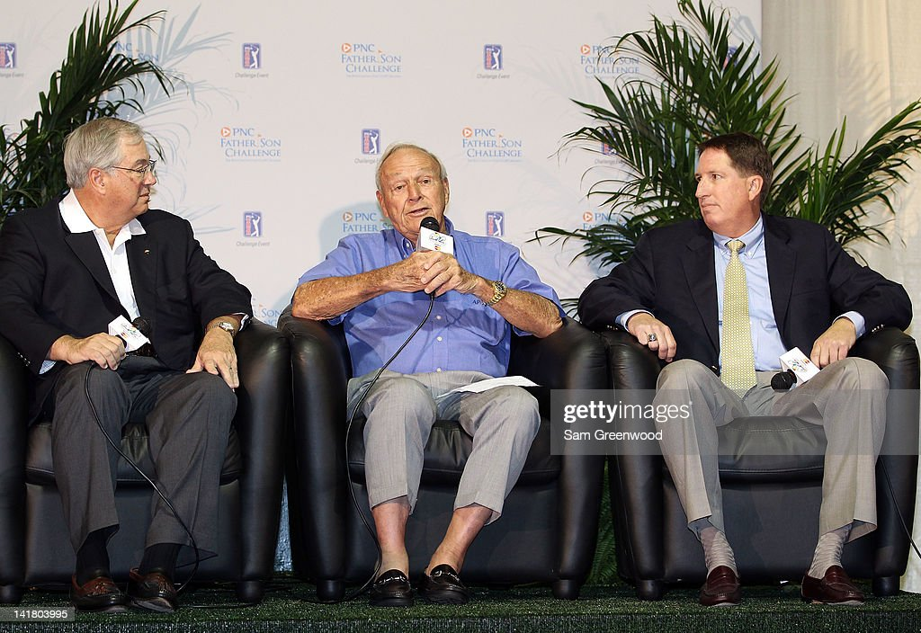 James E. Rohr, CEO of PNC Financial Services, Golf Legend Arnold Palmer, and Mike Stevens, Champions Tour President, speak to the media regarding the annoucement of the PNC Father/Son Challenge on March 24, 2012 in Orlando, Florida.