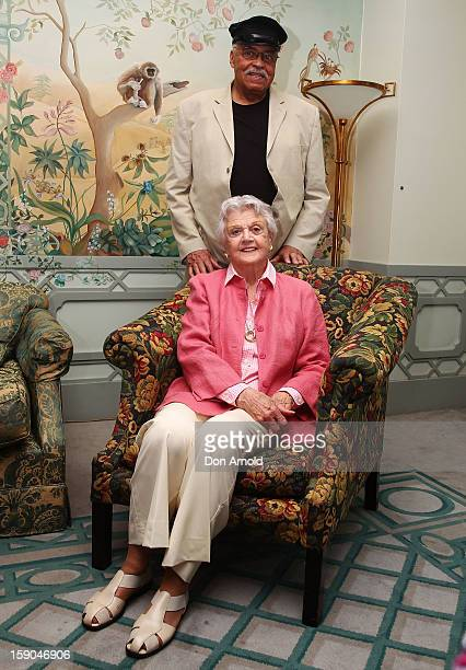 James Earl Jones and Angela Lansbury pose for a photo during a 'Driving Miss Daisy' photo call on January 7 2013 in Sydney Australia