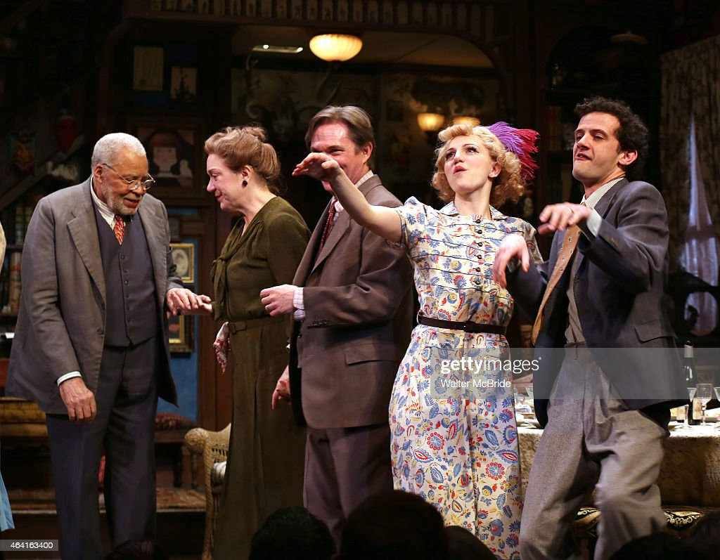 James Earl Jones and cast members Kristine Nielsen Richard Thomas Annaleigh Ashford and Will Brill during the closing performance curtain call for...