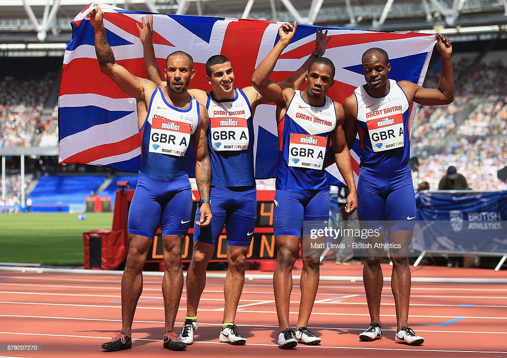 James Elliington Adam Gemili CJ Ujah and James Dasaolu of Great Britain look on after winning the Mens 4x100m relay during day two of the Muller...