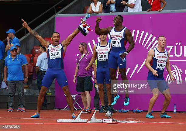 James Ellington Adam Gemili Harry AikinesAryeetey and Richard Kilty of Great Britain and Northern Ireland celebrate their teammates victory in the...