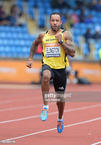 James Ellington competing in the Men's 100m heats during the Sainsbury's British Championships Birmingham Day Two at Birmingham Alexander Stadium on...