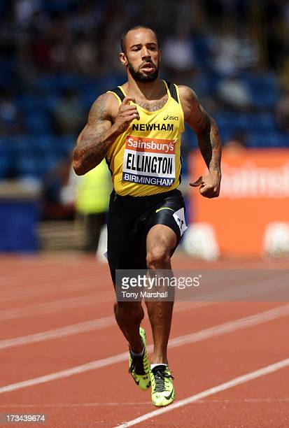 James Ellington of Belgrave Harriers competing in the heats of the Mens 200m during the Sainsbury's British Championships Birmingham British...