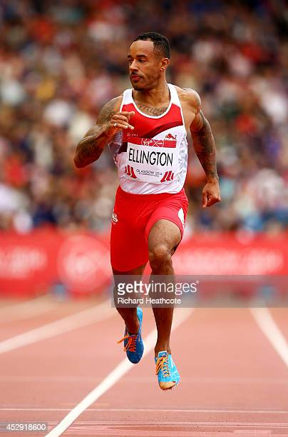 James Ellington of England competes in the Men's 200 metres heats at Hampden Park during day seven of the Glasgow 2014 Commonwealth Games on July 30...