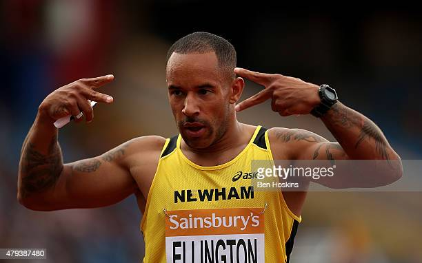 James Ellington of Great Britain celebrates winning his 200m heat during day one of the Sainsbury's British Championships at Birmingham Alexander...