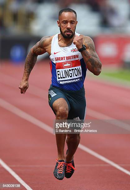 James Ellington of Great Britain competes in the men's 100m heats on day two of the British Championships Birmingham at Alexander Stadium on June 25...