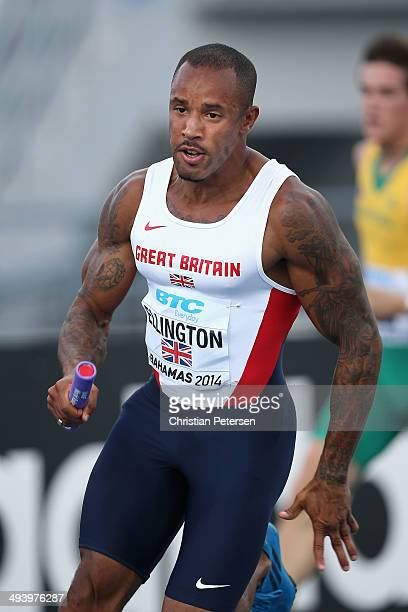 James Ellington of Great Britain competes in the Men's 4x100 metres relay during day two of the IAAF World Relays at the Thomas Robinson Stadium on...