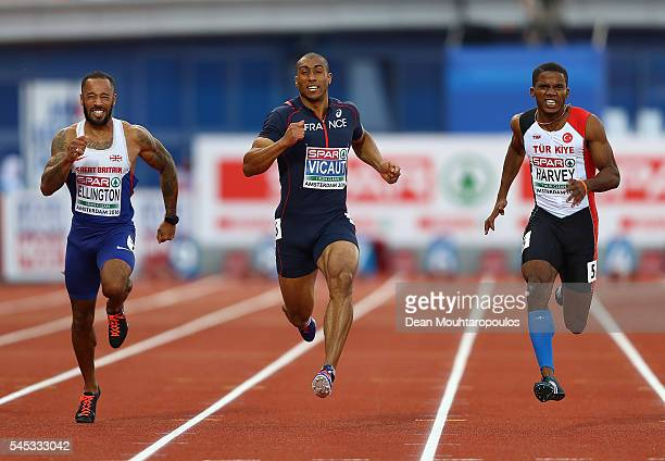 James Ellington of Great Britain Jimmy Vicaut of France and Jak Ali Harvey of Turkey in action during the final of the mens 100m on day two of The...