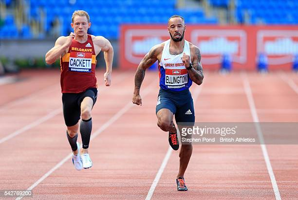 James Ellington of Great Britain wins his heat in the mens 100m during day one of the British Championships Birmingham at Alexander Stadium on June...