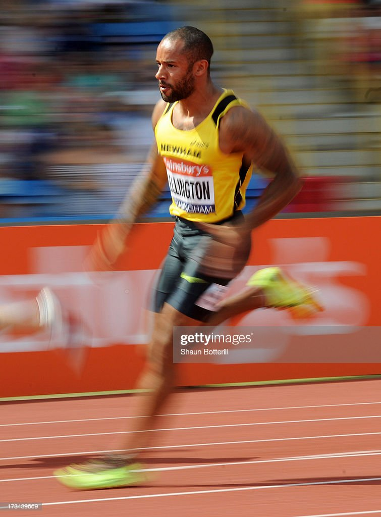 James Ellington of Liverpool H competes in the Men's 200 Metres Final during the Sainsbury's British Athletics World Trials and UK & England Championships at Birmingham Alexander Palace on July 14, 2013 in Birmingham, England.