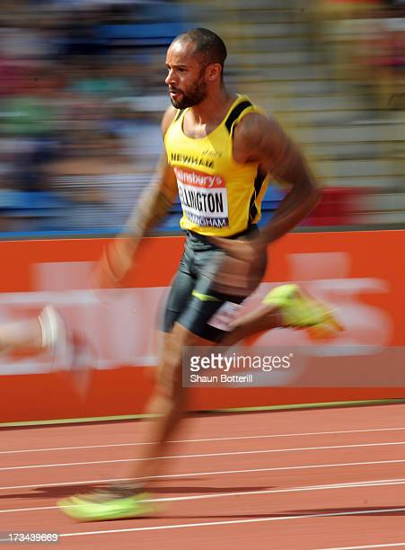 James Ellington of Liverpool H competes in the Men's 200 Metres Final during the Sainsbury's British Athletics World Trials and UK England...