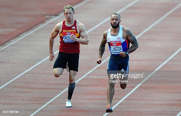 James Ellington of Newham wins Heat 9 of the Mens 100 Metres during Day One of The British Championships at Birmingham Alexander Stadium on June 24...