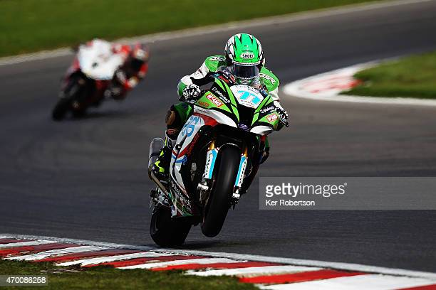 James Ellison of Great Britain and JG Speedfit Kawasaki rides during practice for the MCE British Superbike Championship race at Brands Hatch circuit...