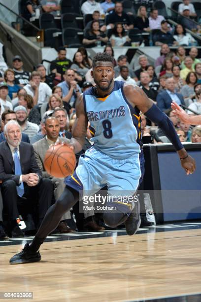 James Ennis III of the Memphis Grizzlies handles the ball against the San Antonio Spurs during the game on April 4 2017 at the ATT Center in San...