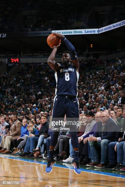 James Ennis III of the Memphis Grizzlies shoots the ball against the Milwaukee Bucks on November 13 2017 at the BMO Harris Bradley Center in...