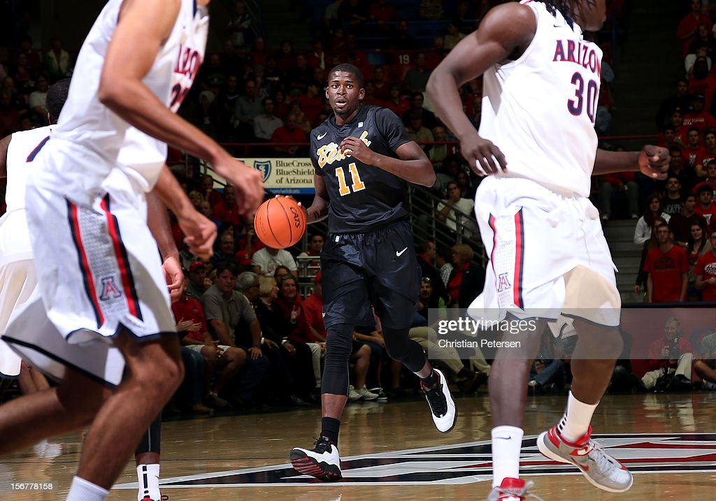 James Ennis #11 of the Long Beach State 49ers handles the ball against the Arizona Wildcats during the college basketball game at McKale Center on November 19, 2012 in Tucson, Arizona. The Wildcats defeated the 49ers 94-72.