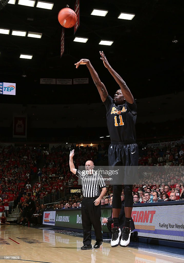 James Ennis #11 of the Long Beach State 49ers puts up a shot against the Arizona Wildcats during the college basketball game at McKale Center on November 19, 2012 in Tucson, Arizona. The Wildcats defeated the 49ers 94-72.