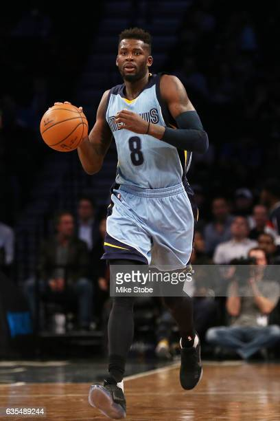 James Ennis of the Memphis Grizzlies against the Brooklyn Nets at Barclays Center on February 13 2017 in Brooklyn borough of New York City Memphis...