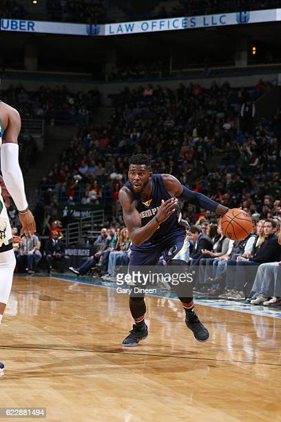 James Ennis of the Memphis Grizzlies drives to the basket against the Milwaukee Bucks during the game on November 12 2016 at the BMO Harris Bradley...