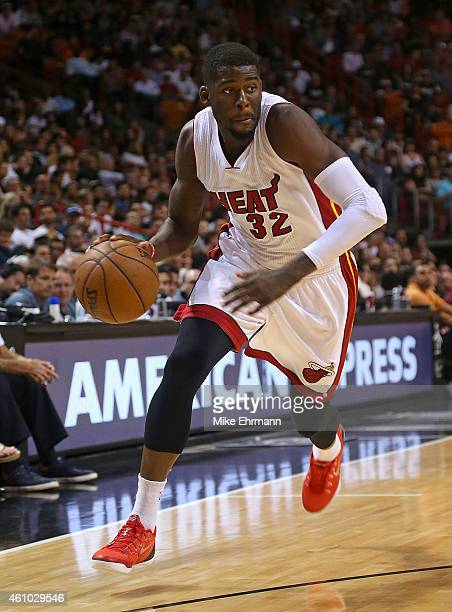 James Ennis of the Miami Heat drives to the basket during a game against the Brooklyn Nets at American Airlines Arena on January 4 2015 in Miami...