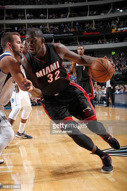 James Ennis of the Miami Heat handles the ball against the Dallas Mavericks on November 9 2014 at the American Airlines Center in Dallas Texas NOTE...