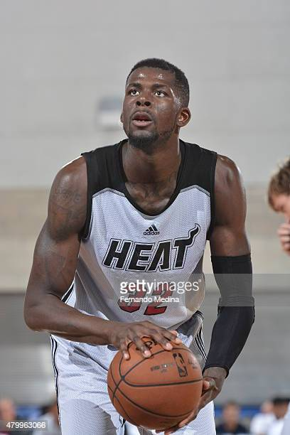 James Ennis of the Miami Heat shoots a free throw against the Los Angeles Clippers in a 2015 NBA Orlando Pro Summer League game on July 8 2015 at...