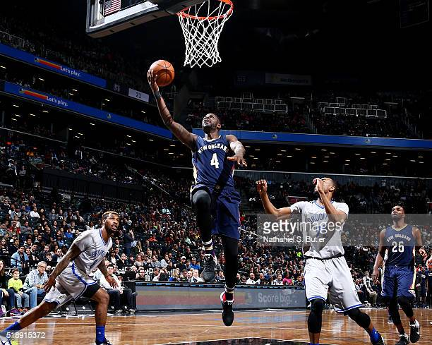James Ennis of the New Orleans Pelicans goes for the layup during the game against the Brooklyn Nets on April 3 2016 at Barclays Center in Brooklyn...