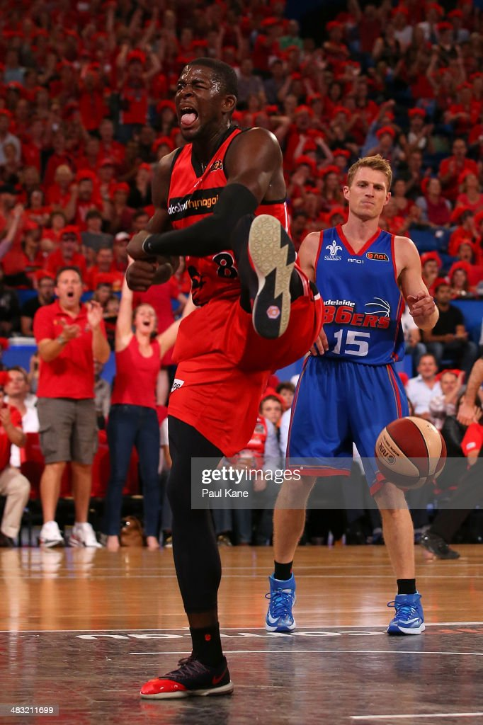 <a gi-track='captionPersonalityLinkClicked' href=/galleries/search?phrase=James+Ennis&family=editorial&specificpeople=8677438 ng-click='$event.stopPropagation()'>James Ennis</a> of the Wildcats celebrates after a dunk during game one of the NBL Grand Final series between the Perth Wildcats and the Adelaide 36ers at Perth Arena on April 7, 2014 in Perth, Australia.