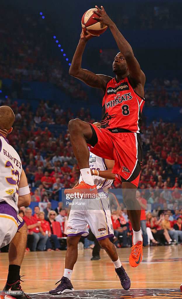James Ennis of the Wildcats drives to the basket during the round two NBL match between the Perth Wildcats and the Sydney Kings at Perth Arena in October 18, 2013 in Perth, Australia.