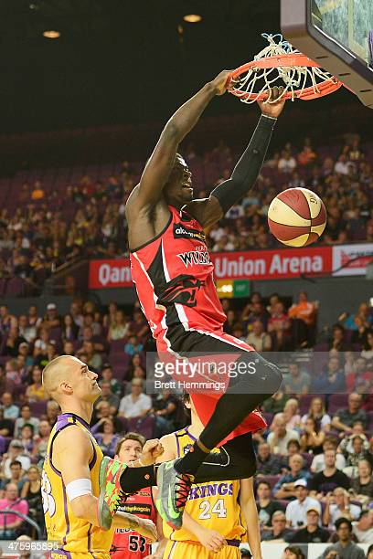 James Ennis of the Wildcats dunks the ball during the round 20 NBL match between the Sydney Kings and the Perth Wildcats at Sydney Entertainment...