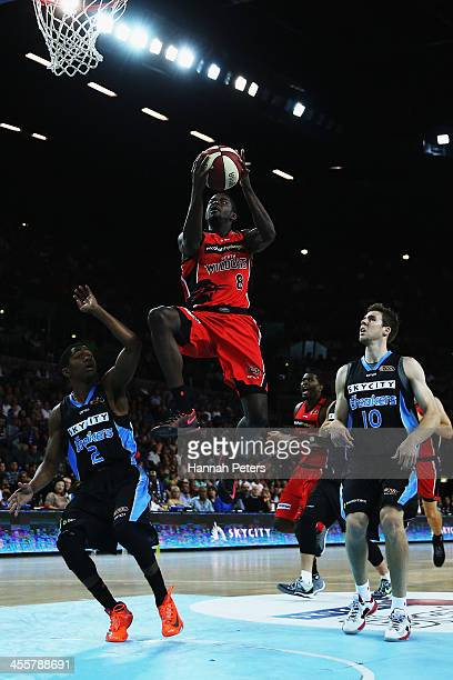James Ennis of the Wildcats lays the ball up during the round 10 NBL match between the New Zealand Breakers and the Perth Wildcats at Vector Arena on...