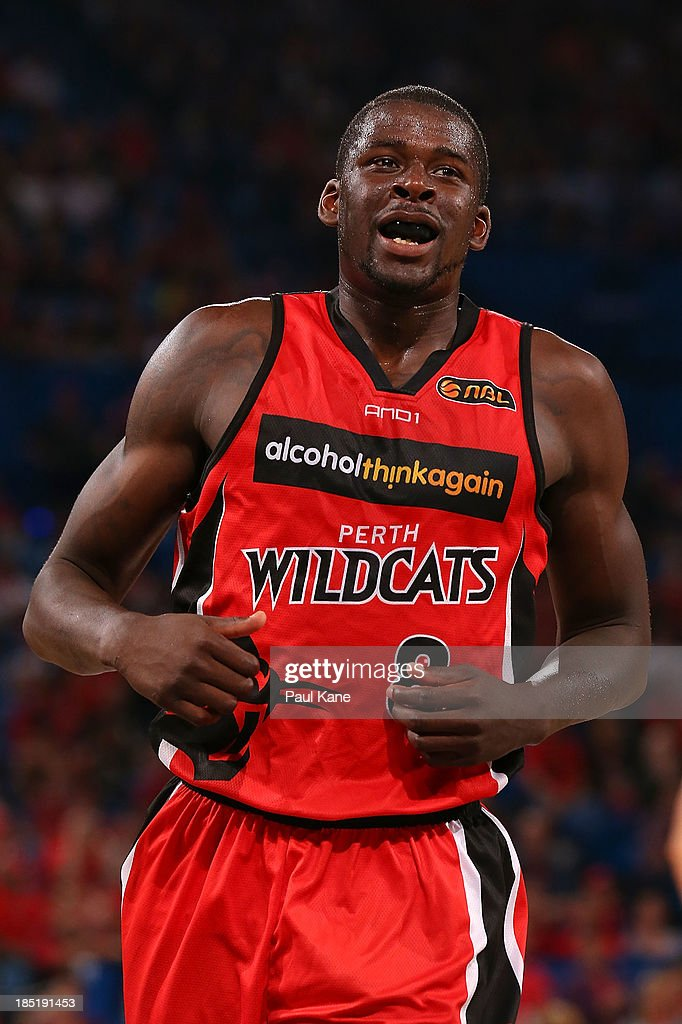 James Ennis of the Wildcats runs from the court at half time during the round two NBL match between the Perth Wildcats and the Sydney Kings at Perth Arena in October 18, 2013 in Perth, Australia.