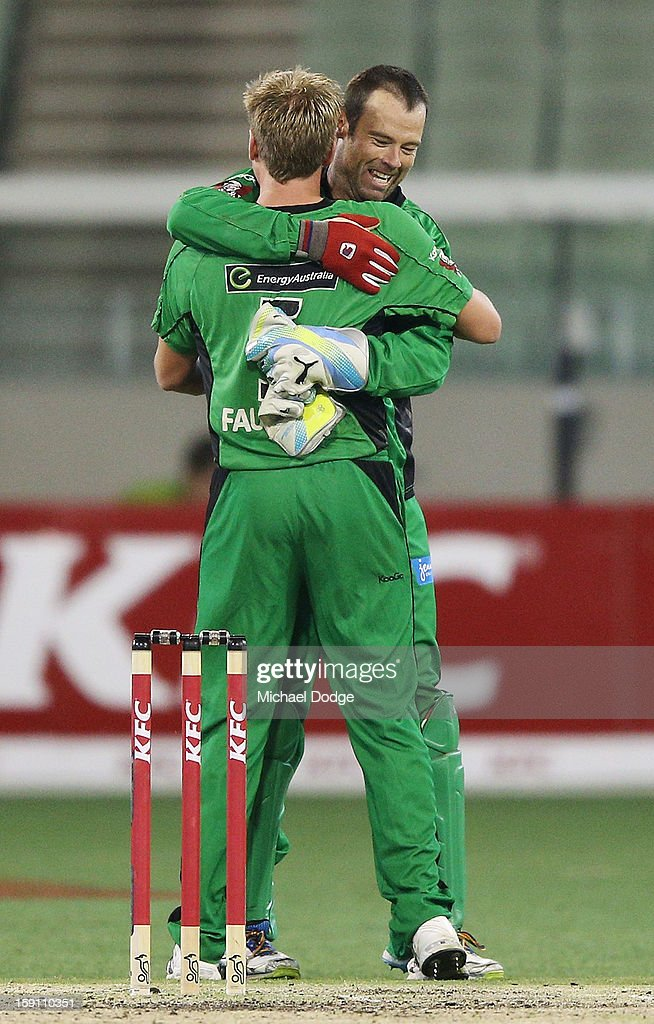 James Faulker (L) and keeper Rob Quiney of the Melbourne Stars celebrate their win during the Big Bash League match between the Melbourne Stars and the Sydney Thunder at Melbourne Cricket Ground on January 8, 2013 in Melbourne, Australia.