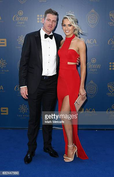 James Faulkner and Brianna Sheppard arrives ahead of the 2017 Allan Border Medal at The Star on January 23 2017 in Sydney Australia
