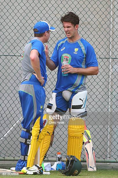 James Faulkner and Mitch Marsh talk during an Australian nets session at The Gabba on January 12 2017 in Brisbane Australia
