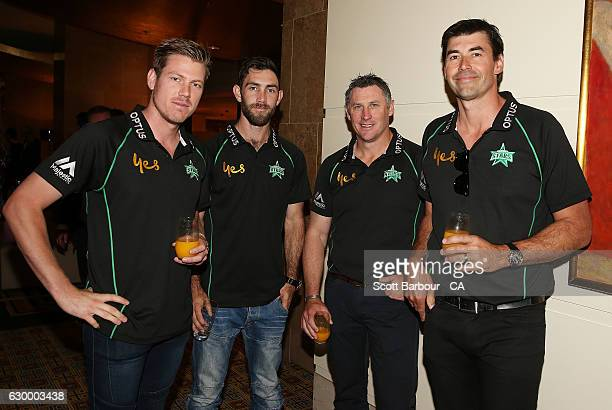 James Faulkner Glenn Maxwell David Hussey and coach Stephen Fleming attend the Melbourne Stars Rivalry Lunch at Crown Palladium on December 16 2016...