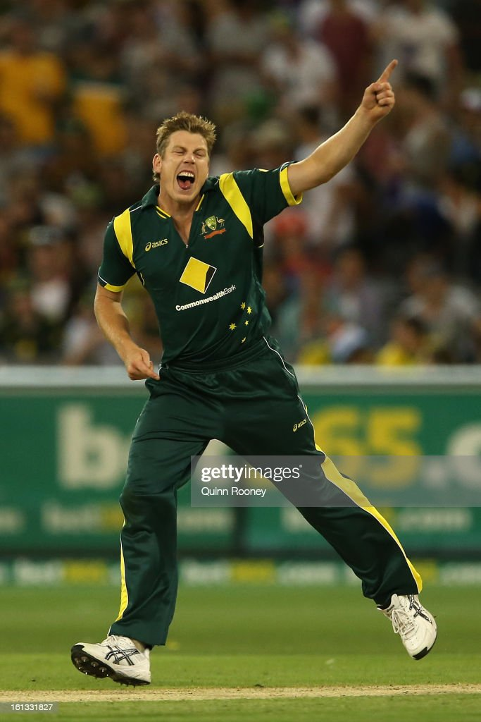 James Faulkner of Australia appeals for a wicket during game five of the Commonwealth Bank International Series between Australia and the West Indies at Melbourne Cricket Ground on February 10, 2013 in Melbourne, Australia.
