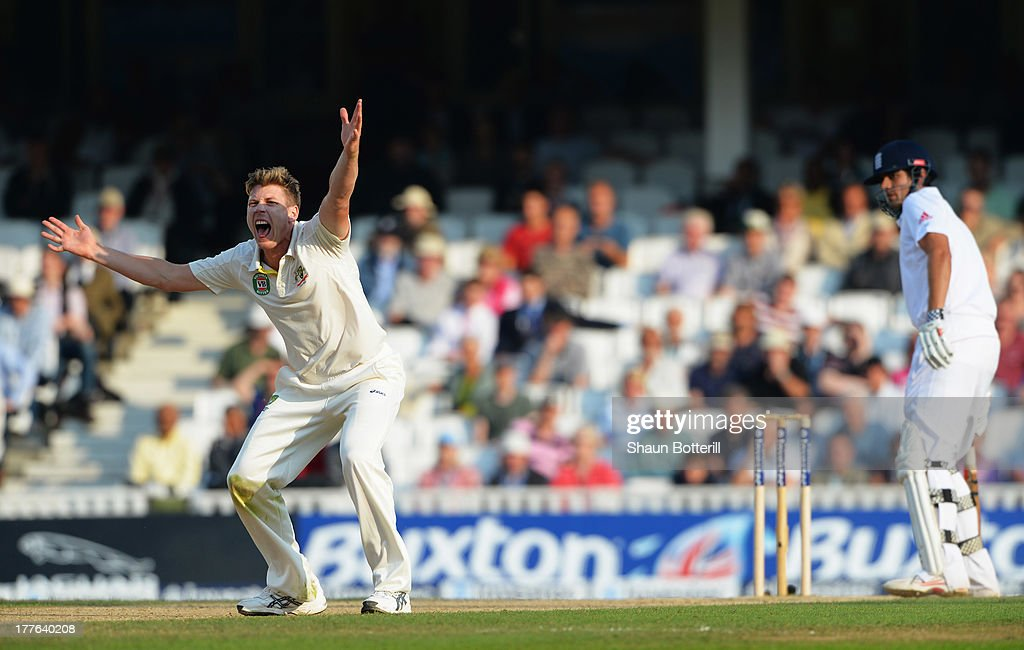 James Faulkner of Australia appeals successfully for the wicket of Alastair Cook of England during day five of the 5th Investec Ashes Test match between England and Australia at the Kia Oval on August 25, 2013 in London, England.