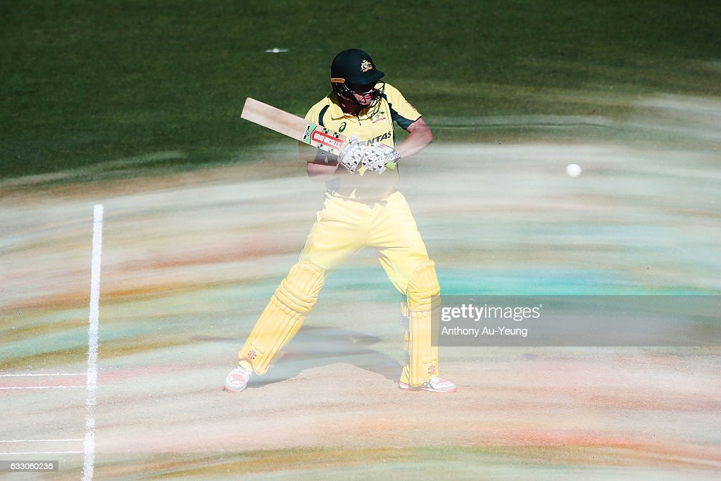 James Faulkner of Australia bats during the first One Day International game between New Zealand and Australia at Eden Park on January 30, 2017 in Auckland, New Zealand.
