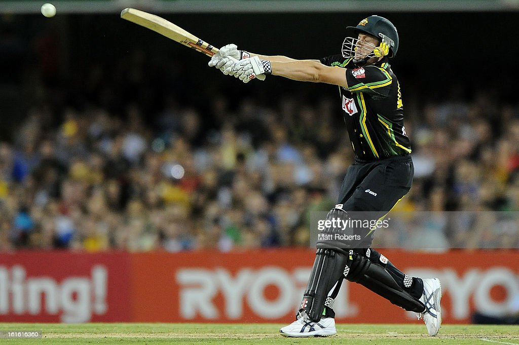 James Faulkner of Australia bats during the International Twenty20 match between Australia and the West Indies at The Gabba on February 13, 2013 in Brisbane, Australia.