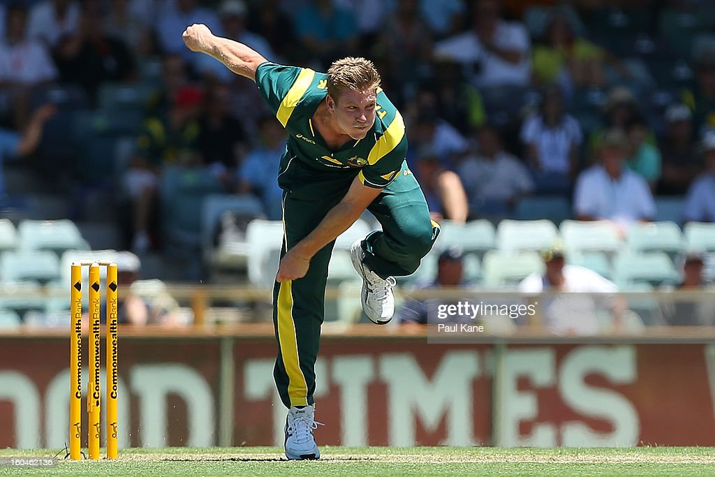 James Faulkner of Australia bowls during game one of the Commonwealth Bank One Day International Series between Australia and the West Indies at WACA on February 1, 2013 in Perth, Australia.