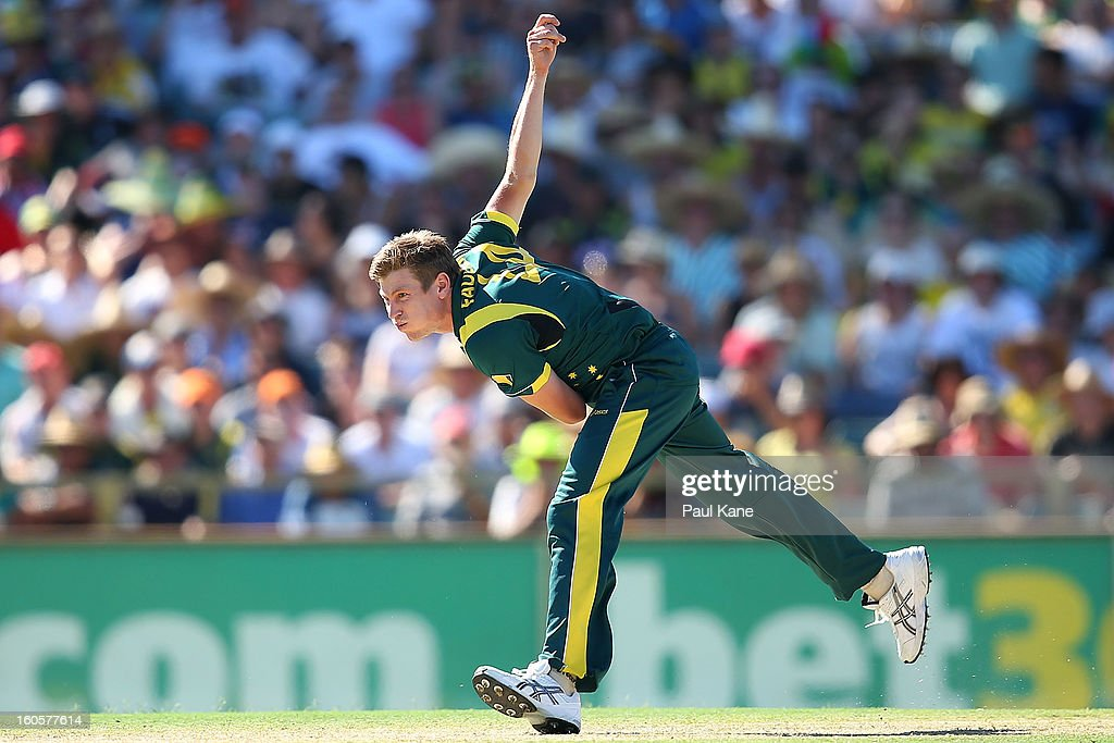 James Faulkner of Australia bowls during game two of the Commonwealth Bank One Day International Series between Australia and the West Indies at WACA on February 3, 2013 in Perth, Australia.