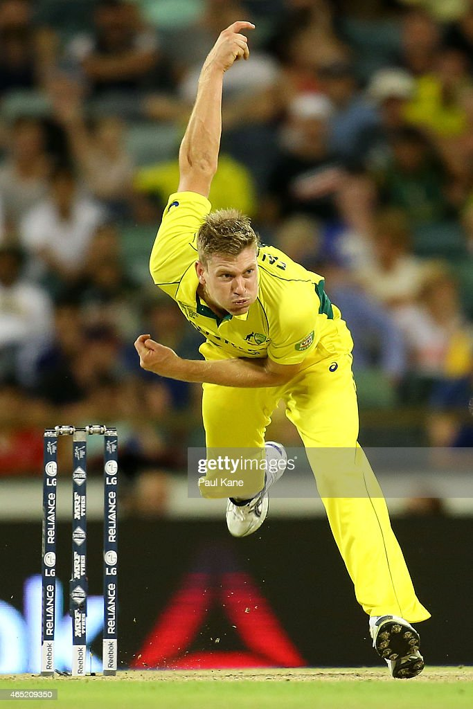 <a gi-track='captionPersonalityLinkClicked' href=/galleries/search?phrase=James+Faulkner+-+Cricketer&family=editorial&specificpeople=11388189 ng-click='$event.stopPropagation()'>James Faulkner</a> of Australia bowls during the 2015 ICC Cricket World Cup match between Australia and Afghanistan at WACA on March 4, 2015 in Perth, Australia.