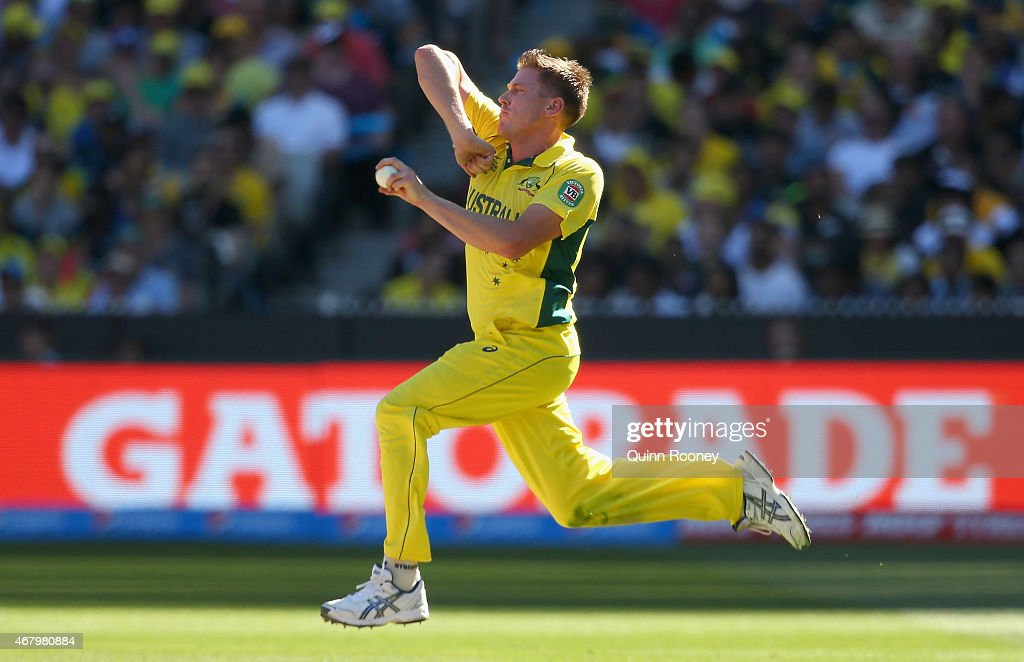 <a gi-track='captionPersonalityLinkClicked' href=/galleries/search?phrase=James+Faulkner+-+Cricketer&family=editorial&specificpeople=11388189 ng-click='$event.stopPropagation()'>James Faulkner</a> of Australia bowls during the 2015 ICC Cricket World Cup final match between Australia and New Zealand at Melbourne Cricket Ground on March 29, 2015 in Melbourne, Australia.