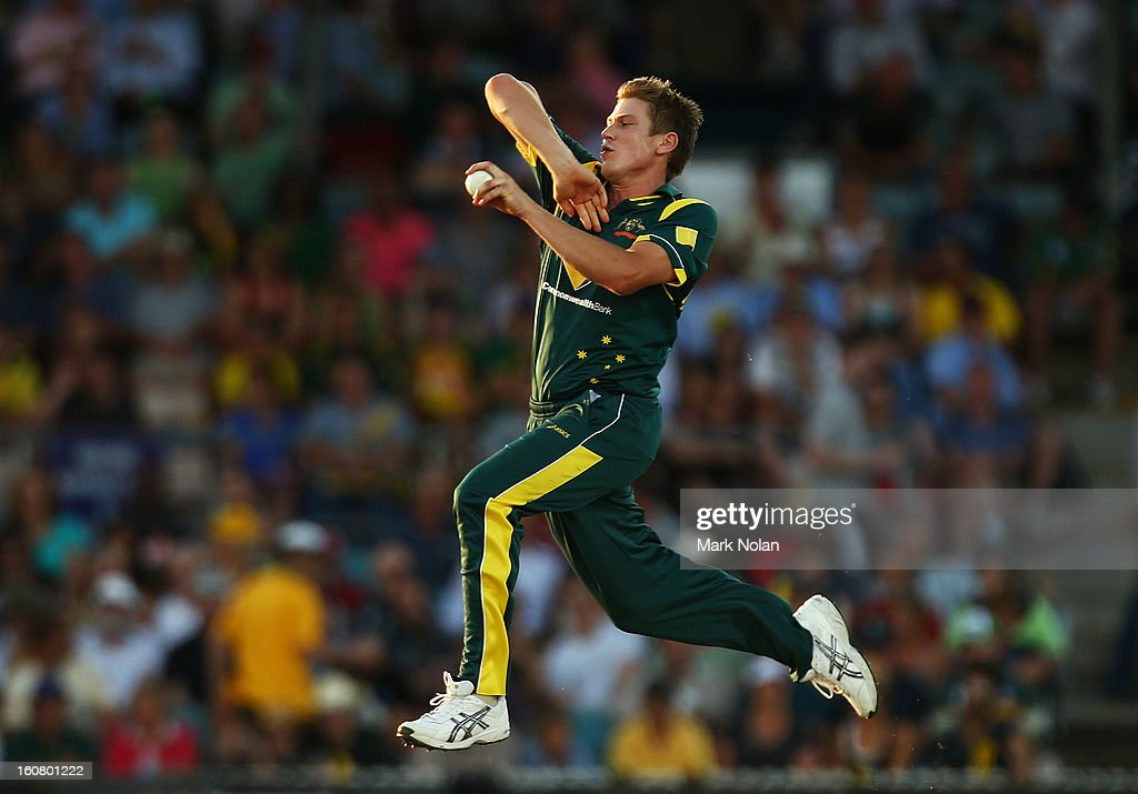 James Faulkner of Australia bowls during the Commonwealth Bank One Day International Series between Australia and the West Indies at Manuka Oval on February 6, 2013 in Canberra, Australia.