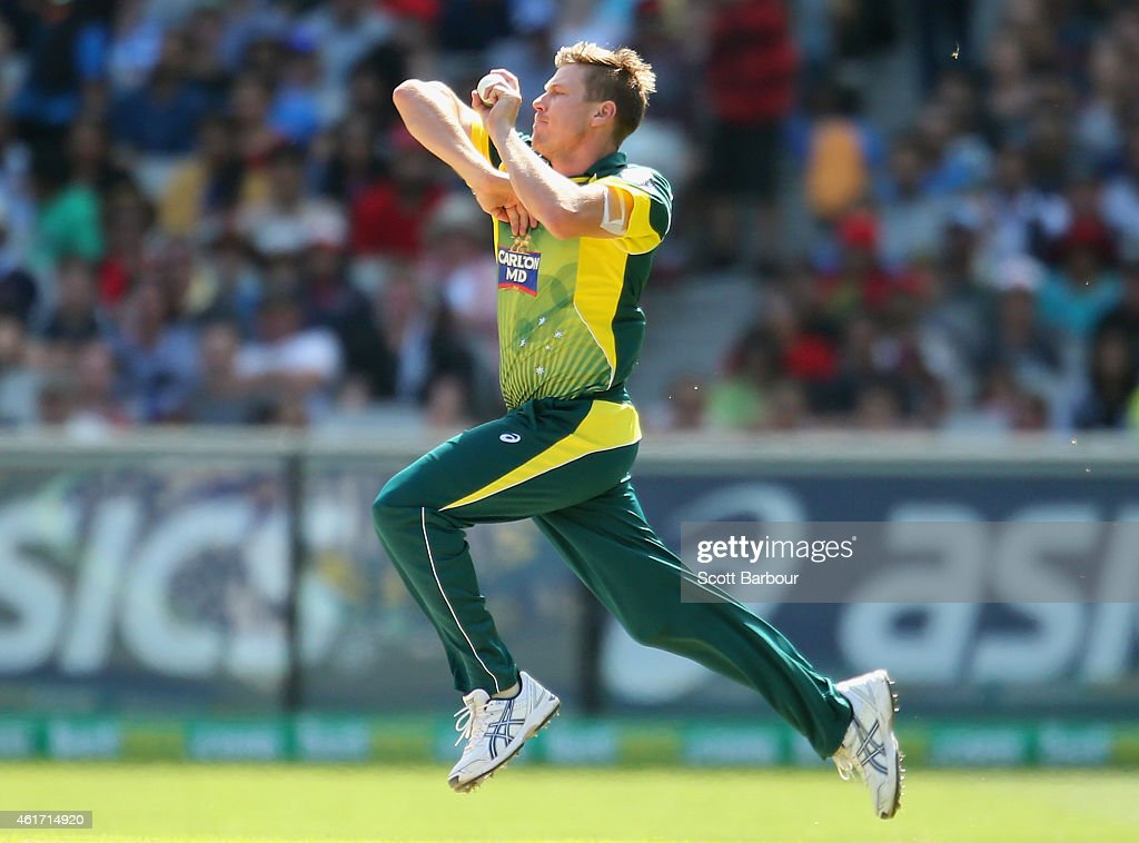 <a gi-track='captionPersonalityLinkClicked' href=/galleries/search?phrase=James+Faulkner+-+Cricketer&family=editorial&specificpeople=11388189 ng-click='$event.stopPropagation()'>James Faulkner</a> of Australia bowls during the One Day International match between Australia and India at the Melbourne Cricket Ground on January 18, 2015 in Melbourne, Australia.
